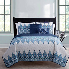 VCNY Andrea Damask + Scroll Quilt Set