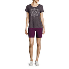 Made For Life Short Sleeve Scoop Burnout Medallion Tee or Relaxed Fit Woven Cargo Shorts