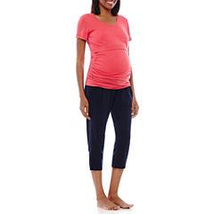 Spencer Maternity Short-Sleeve Nursing Top and Capris Pajama Set