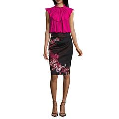 Worthington Sleeveless Ruffle Neck Keyhole Blouse and Side Zip Pencil Skirt