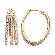 Diamond Fascination™ 14K Tri-Tone Gold Triple Hoop Earrings