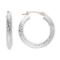 14K Two Tone Gold Diamond-Cut Knife Edge Hoop Earrings