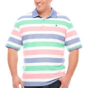 IZOD Short Sleeve Stripe Knit Polo Shirt Big and Tall