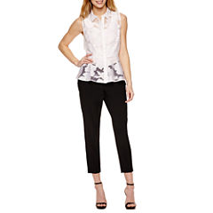 Worthington Sleeveless Organza Button Front Peplum and Curvy Fit Ankle Pants