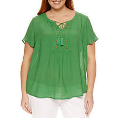 Liz Claiborne Short Sleeve Flutter Sleeve Solid Peasant Top Plus
