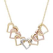 14K Tri-Tone Gold Heart Pendant Necklace