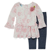 Marmellata 2-pc. Long-Sleeve Lace Top and Leggings Set - Baby Girls 3m-24m