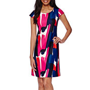 Tiana B. Short-Sleeve Scuba Dress - Tall
