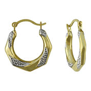Small Two-Tone Hoop Earrings 10K Gold