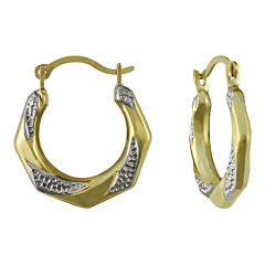 Small Two-Tone Hoop Earrings 10K Gold