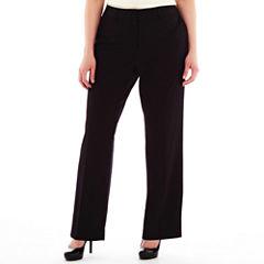 Liz Claiborne® Classic Sophie Secretly Slender™ Trouser Leg Pants - Plus