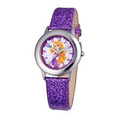 Disney Rapunzel Glitz Tween Purple Leather Strap Watch