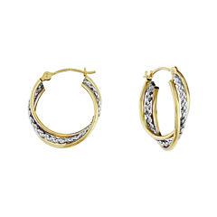 14K Two-Tone Gold 16mm Interlocking Twisted Hoop Earrings