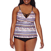 Arizona Festival Paisley Tankini Swim Top or Shirred High-Waist Swim Bottoms - Juniors Plus
