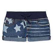 Arizona American Flag Denim Shorts with Knit Waistband - Girls 7-16