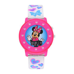 Disney Minnie Mouse Girls Multicolor Strap Watch-Mnh4018jc