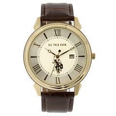 U.S. Polo Assn. Mens Brown Strap Watch-Usc50406