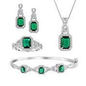 Womens 4-pc. Green Emerald Silver Over Brass Jewelry Set
