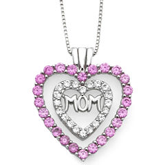 Lab-Created Pink & White Sapphire Mom Heart Pendant Necklace