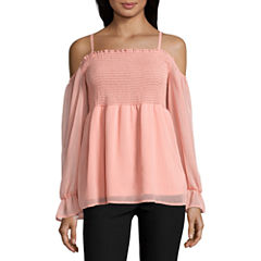 by&bySmocked Off The ShoulderChiffon Blouse-Juniors