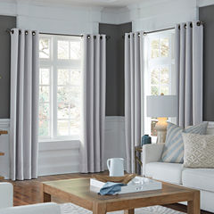 JCPenney Home Made-To-Length Textured Blackout Grommet-Top Poly-Cotton Lined Curtain Panel
