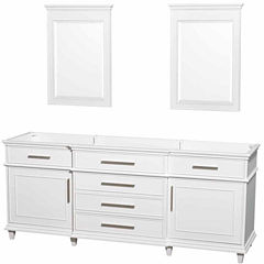 Wyndham Collection Berkeley 80 inch Double Bathroom Vanity with 24 inch Mirrors