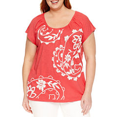 St. John's Bay® Short Sleeve Paisley T-Shirt - Plus