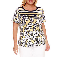 Alfred Dunner Seas The Day Short Sleeve Crew Neck T-Shirt-Plus