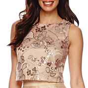 Be by CHETTA B Sleeveless Embroidered Sequin Crop Top
