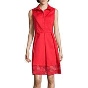Liz Claiborne® Sleeveless Eyelet Shirtdress