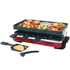 Swissmar 8-Person Classic Red Raclette Reversible Nonstick Party Grill