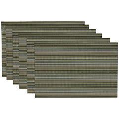 Design Imports Vineyard Green Micro Stripe Set of 6 Placemats