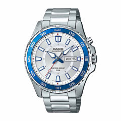 Casio Illuminator Mens Silver Tone Bracelet Watch-Mtd-110d-7av