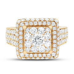 Limited Quantites Womens 2 1/2 CT. T.W. Genuine White Diamond 14K Gold Cocktail Ring