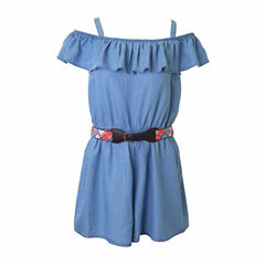 Lilt Cold-Shoulder Chambray Belted Romper - Girls' 7-16