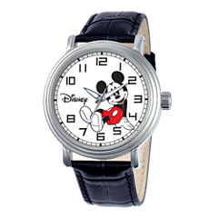 Disney Vintage Mens Mickey Mouse Black Leather Strap Watch