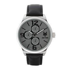 Zoo York® Mens Black And Silvertone Strap Watch