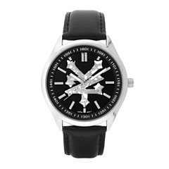 Zoo York® Mens All Black Leather Strap Watch
