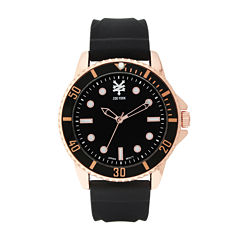 Zoo York® Mens Black And Rose Gold Tone Rubber Strap Watch