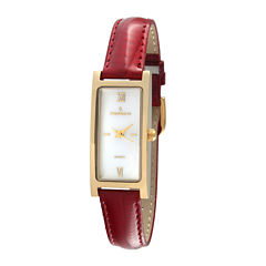 Peugeot® Womens Gold-Tone Red Leather Strap Watch
