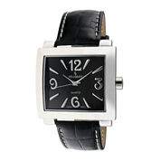 Peugeot® Womens Silver-Tone Black Calfskin Strap Watch