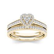1/2 CT. T.W. Diamond 10K Yellow Gold Heart-Shaped Bridal Set