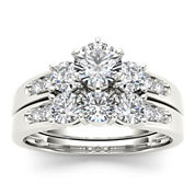 1 1/2 CT. T.W. Diamond 14K White Gold Bridal Ring Set