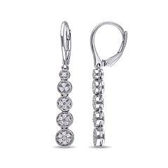 1/2 CT. T.W. Diamond Sterling Silver Drop Earrings