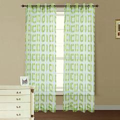 Retro Jacquard Sheer Grommet-Top Curtain Panel