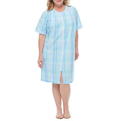 By Miss Elaine Short Sleeve Seersucker Robe-Plus