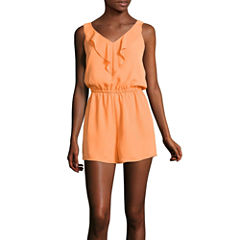 Decree V-neck Ruffle Romper - Juniors