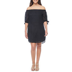 a.n.a Off the Shoulder 3/4 Sleeve Embroidered Shift Dress
