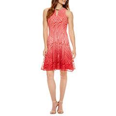 Liz Claiborne Sleeveless Embellished Lace Fit & Flare Dress