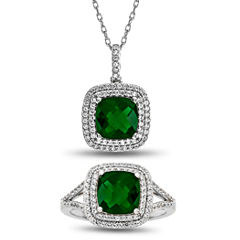 Womens 2-pc. Simulated Emerald Sterling Silver Jewelry Set